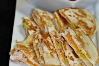 Chicken, cheese, and pepper quesadillas