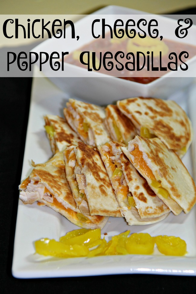 Chicken, cheese, & pepper quesadillas