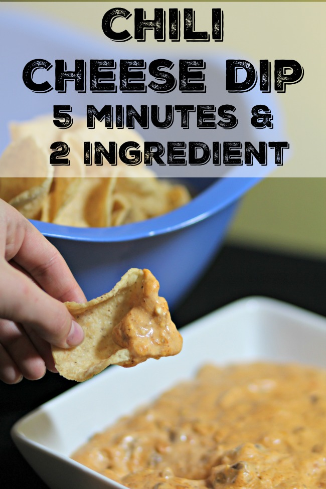 chili cheese dip- simple, 5 minute, 2 ingredient dip, great with nachos