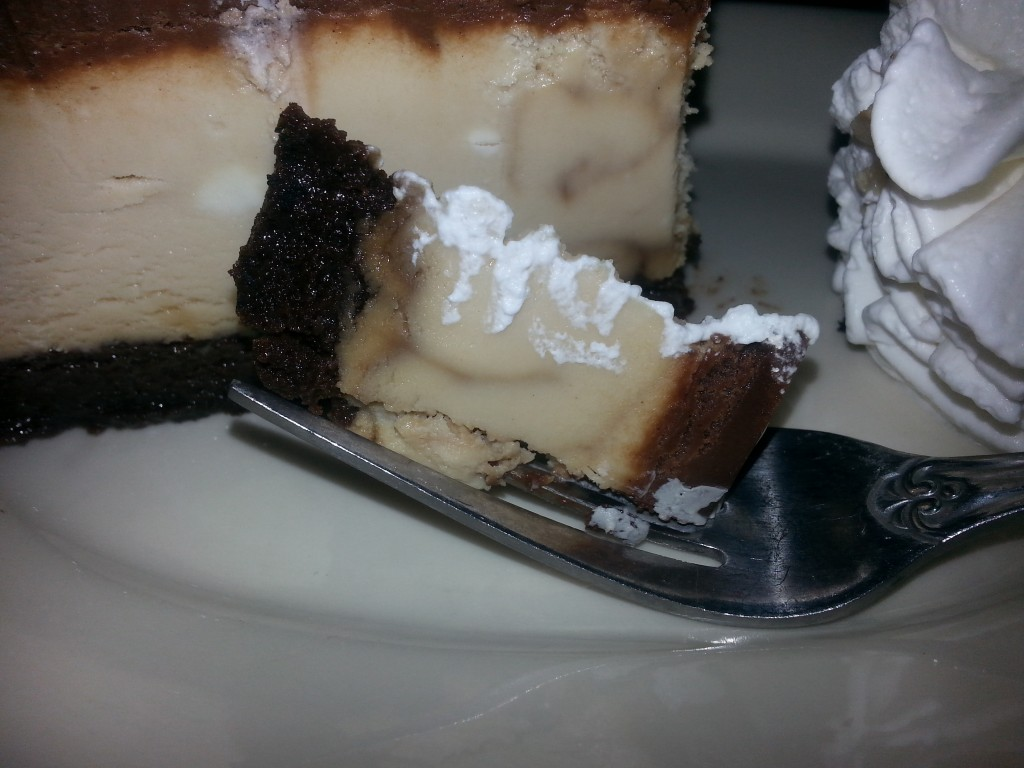 A bite of Mocha Cheesecake from the Cheesecake Factory