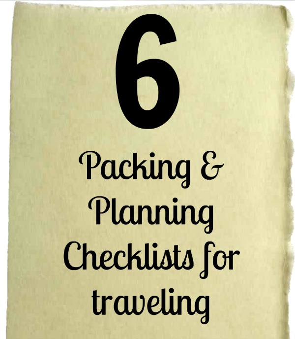 6 packing and planning checklists